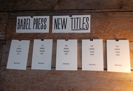 "Some of the sample titles conceived and printed as title pages in Ray Fenwick's ongoing  ""New Titles from Babel Press"" letterpress project with"