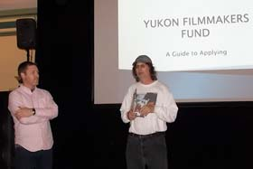 Kevin Hannam of the Yukon Film and Sound Commission is introduced by DCISFF Producer Dan Sokolowsky