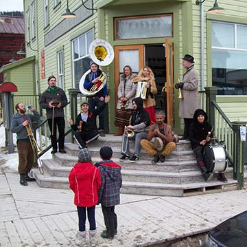 The Lemon Bucket Orkestra performs as part of the Sunday afternoon Street Party at the Dawson Film Fest