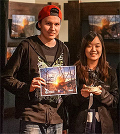 Person Numero Uno and Personne Deux show off their MITY Emerging Artist Award. The duo won for their short film Whatever It's Called. Photo: Chris Healey
