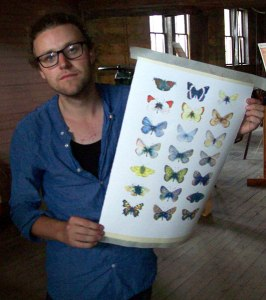 Nathias Macphee with a final silkscreened print.